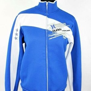 Hurley Track Jacket size S Men Blue Spellout Logos